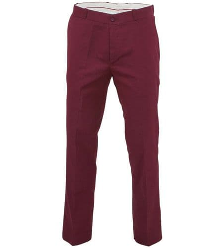 Relco Mens Stay Press Burgundy Trousers Sta Press Retro Mod Skin Skinhead Ska